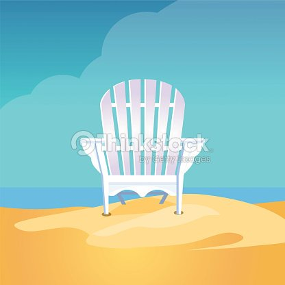 Adirondack Chair On The Sea Beach Standing On Yellow Sand ...
