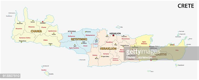 Mediterranean Political Map.Administrative And Political Map Of Greek Mediterranean Island Crete