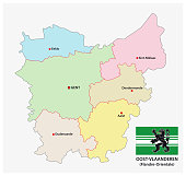 administrative and political vector map of the belgian province East Flanders with flag
