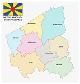administrative and political vector map of the belgian province west flanders with flag