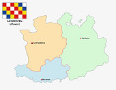 administrative and political vector map of the belgian province Antwerp with flag