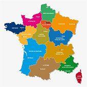 Administrative and political map of the 13 regions of france since 2016