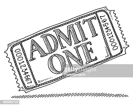 Admit One Admission Ticket Drawing Vector Art | Getty Images
