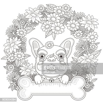 Adorable Bulldog Coloring Page Vector Art Thinkstock