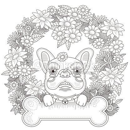 Adorabile Bulldog Pagina Da Colorare Arte Vettoriale Thinkstock