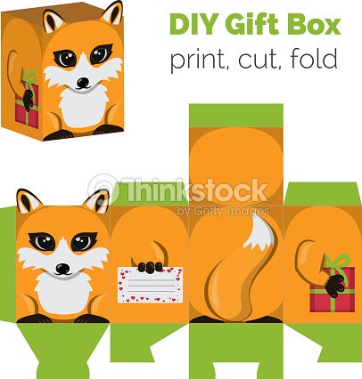 Adorable do it yourself diy fox gift box with ears vector art adorable do it yourself diy fox gift box with ears vector art solutioingenieria Image collections