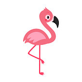 Adorable flamingo in flat style. Vector illustration isolated on white background.