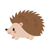 Adorable hedgehog in modern flat style. Vector. Vector illustration isolated on white background.
