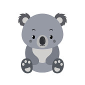 Adorable koala in flat style isolated on white background. Vector illustration.