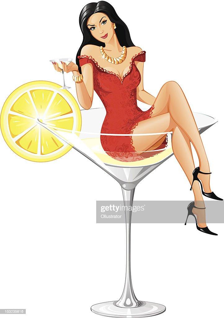 Adorable Martini Woman - New Version : Vector Art