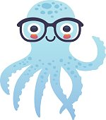 Vector illustration, adorable octopus character wearing glasses