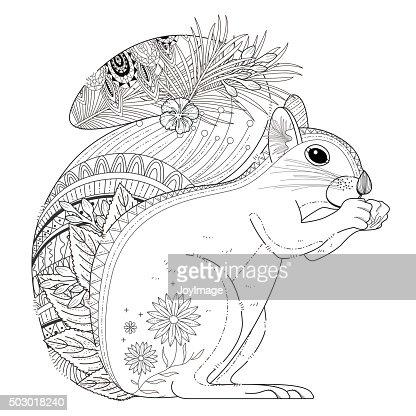 Adorable Squirrel Coloring Page Vector Art Thinkstock Squirrel Coloring Pages