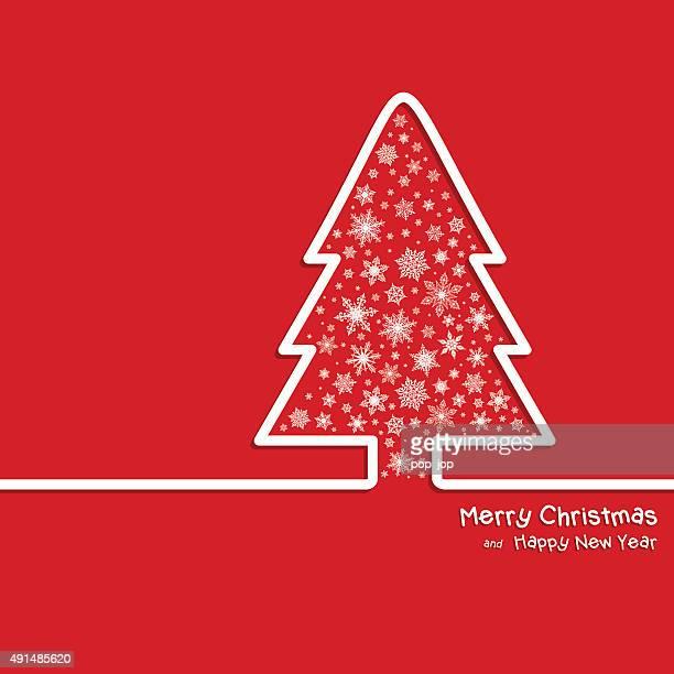 Adstrat arbre de Noël et les flocons de neige-Illustration