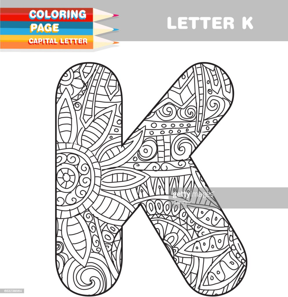 Adult Coloring book capital letters hand drawn template : Vectorkunst