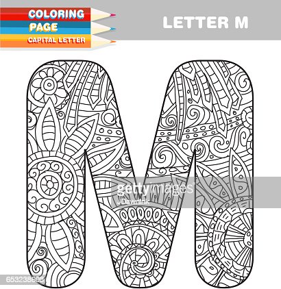 Adult Coloring book capital letters hand drawn template : Vektorgrafik