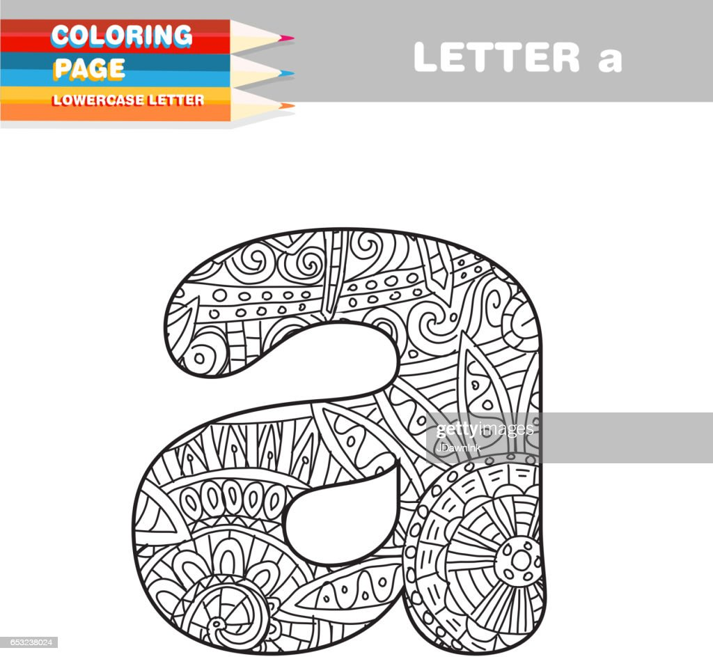 Adult Coloring book lower case letters hand drawn template : Vektorgrafik