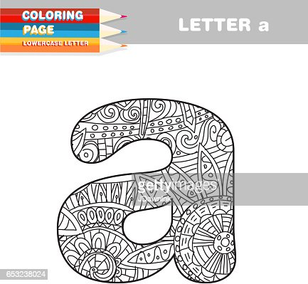 Adult Coloring book lower case letters hand drawn template : ベクトルアート