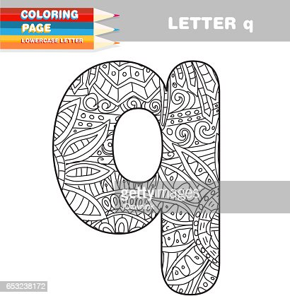 Adult Coloring book lower case letters hand drawn template : Clipart vectoriel