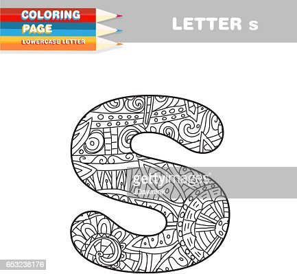 Adult Coloring book lower case letters hand drawn template : Vector Art