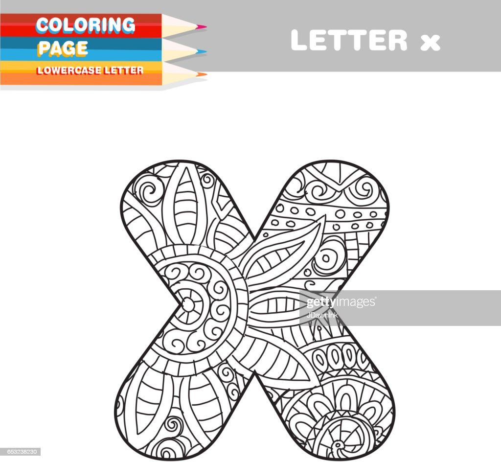 Adult Coloring book lower case letters hand drawn template : Arte vettoriale