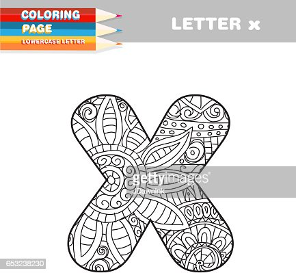 Adult Coloring book lower case letters hand drawn template : Vectorkunst