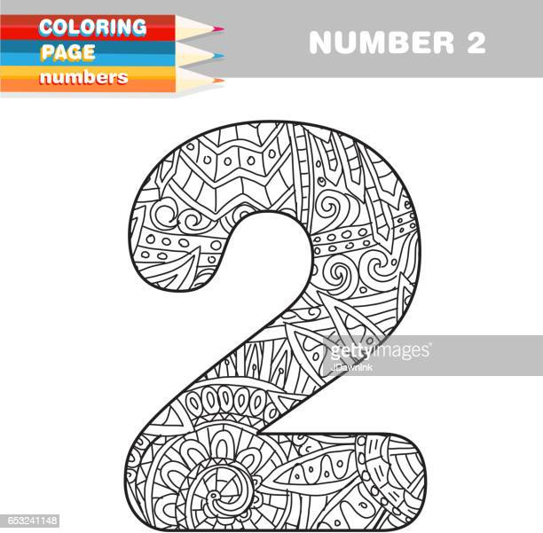 Adult Coloring book numbers hand drawn template