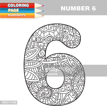 Adult Coloring book numbers hand drawn template : ベクトルアート