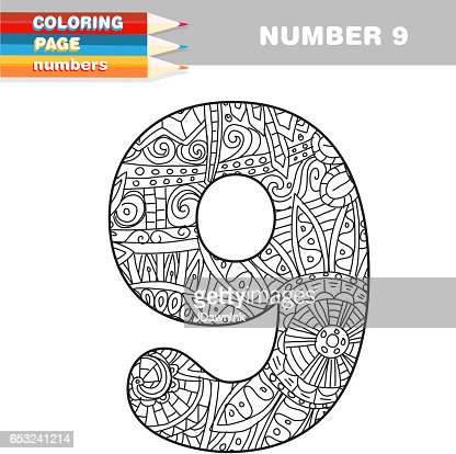 Adult Coloring book numbers hand drawn template : Vectorkunst