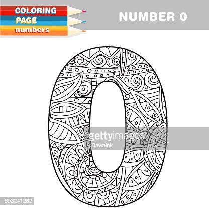Adult Coloring book numbers hand drawn template : Vector Art