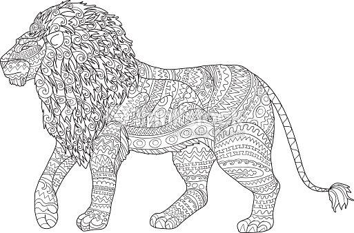 Färbung Seite Für Erwachsene Für Antistressmit Löwe Vektorgrafik ...