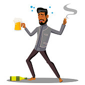 Adult Drunk Man With Glass Of Beer And Cigar Vector. Illustration