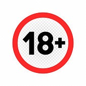 Adults only sign symbol icon on white transparent background. Under eighteen prohibited label. Do not enter or do not use minors