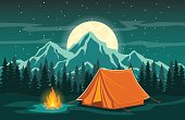 Adventure Camping Evening Scene.  Tent, Campfire, Pine forest and rocky mountains background, starry night sky with moonlight