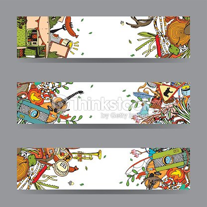 Adventure Camping Objects. Travel and Recreation Time Concept. Vector Cards and Banners with Doodles.
