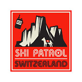 Mountains landscape. Adventure outdoor expedition mountain snowy peak, mountain sign or symbol with text Ski Patrol, Switzerland, vector illustration
