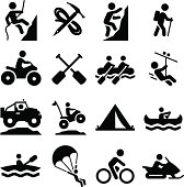 Mountaineering, rafting, climbing, off-roading and other adventure icons. Vector icons for video, mobile apps, Web sites and print projects. See more in this series.