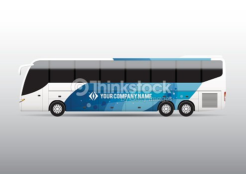 Advertisement Or Corporate Identity Design Template On White Bus