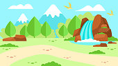 Cartoon Advertising Flat Banner Mountain Nature Landscape Waterfall Forest Top of Rocks Scene Place for Camping Hiking Trekking Vector Seamless Illustration Tourism Traveling Highland Landing Page