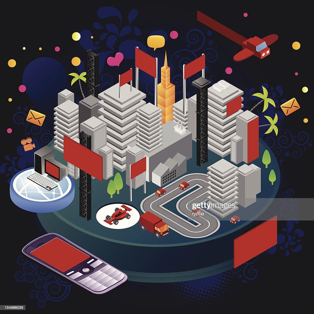 Advertising billboard city : Vector Art