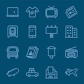 Advertising media blue line icon