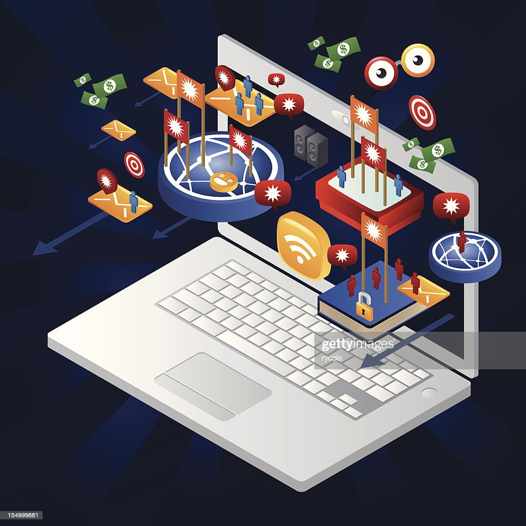 Advertising online coming out from a laptop : Vector Art