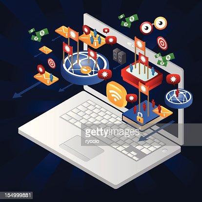 広告をオンラインで明らかには、ノートパソコンから : ベクトルアート