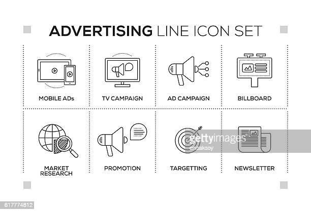 Advertising & Promo keywords with monochrome line icons