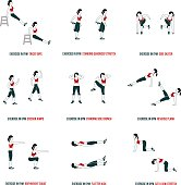 Fitness, Aerobic and workout exercise in gym. Vector set of workout icons in flat style isolated on white background.