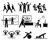 Beginner learning aerobic at home by watching TV and Internet video. Aqua aerobic exercise at swimming pool. Illustrations in stick figures pictogram.