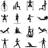 Fitness, Aerobic and workout exercise in gym. Vector set of gym icons isolated on white background. People in gym. Gym equipment, dumbbell, weights, treadmill, ball.