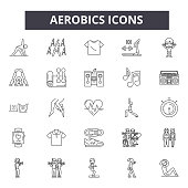Aerobics line icons. Editable stroke. Concept illustrations: gym, fitness, workout, training, exercise class, body fit etc. Aerobics  outline icons