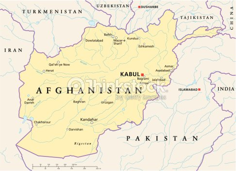 Afghanistan Political Map Vector Art Thinkstock - Middle east map dushanbe