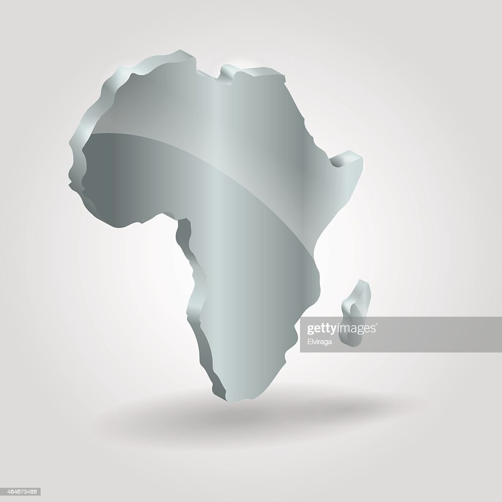 Africa 3d Silver Map Image Of Modern Africa Map Illustration