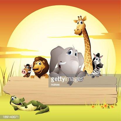 África animales-Señal : Arte vectorial